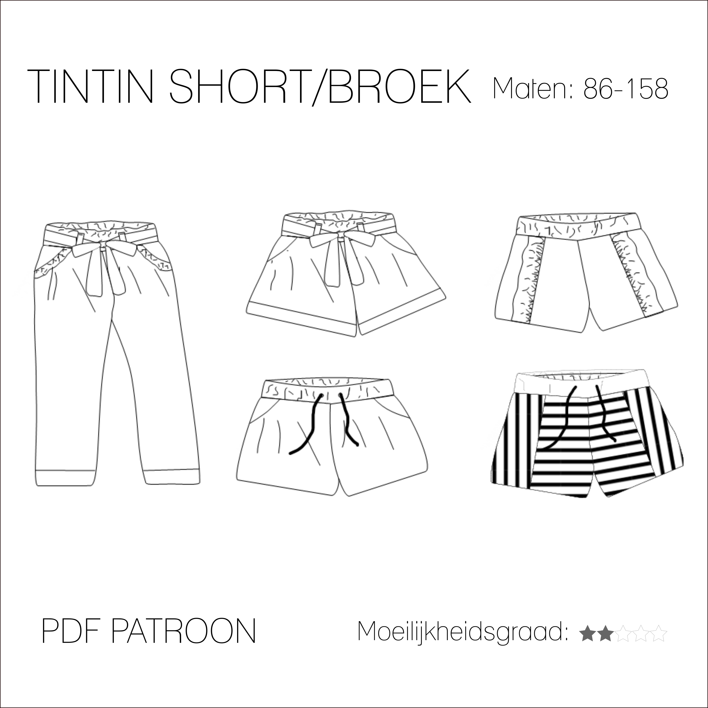 f6b1c7bef392a7 Tintin short broek - PDF patroon - Iris May